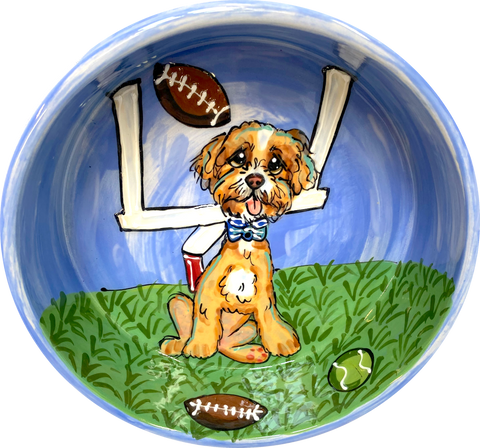 Football dog bowl/ Personalized pet bowls/ Debby Carman/ faux paw petique/ Faux Paw/ sports gift/ custom dog bowl