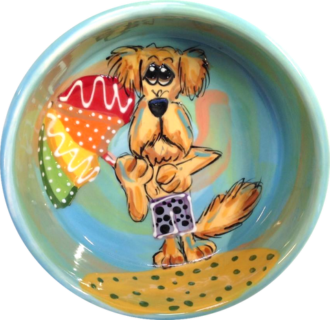 Labradoodle on the beach whimsical painting on ceramic dog bowl / Best  pet bowls 2020 by Debby Carman