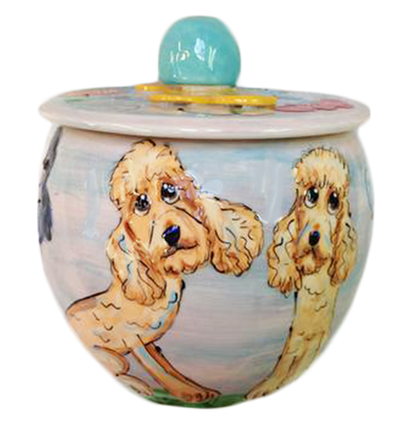 Custom Labradoodle gift, treat jars personalized by Debby Carman, Faux Paw Petique, Laguna Beach CA