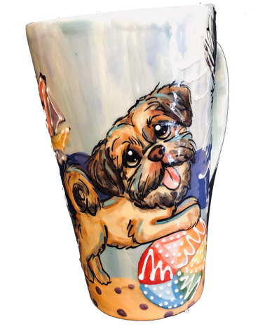 hand painted ceramic latte mug featuring hand painted Shih Tzu with beach ball | blue | Debby Carman | faux paw petique