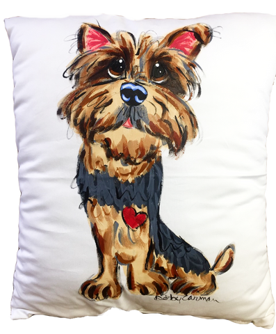Yorkie Whimsical Portrait on handmade custom dog pillow by Debby Carman of Faux Paw Petique Artique
