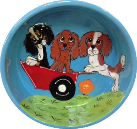 Whimsical / Dog Bowl / Large / Pet Bowls / Pet Supplies / water dish / ceramic / handmade / gift / dog mom / Debby Carman / dog bowl pottery / sturdy dog bowl / heavy dog bowl / faux paw petique / faux Paw Artique/ faux paw productions / cat fishing / Dalmatian / best dog bowl 2020 / celebrity pet / custom / personalize dog bowl with name / hand painted / pet portrait / dog portrait from photo / bestselling dog bowls / pet bowl set / puppy bowl / pet art / dog art / cavalier / King Charles / blue dog bowl