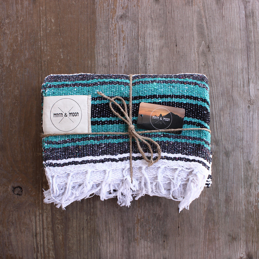 Lago Mexican Falsa Blanket by Mntn & Moon | teal mexican blanket