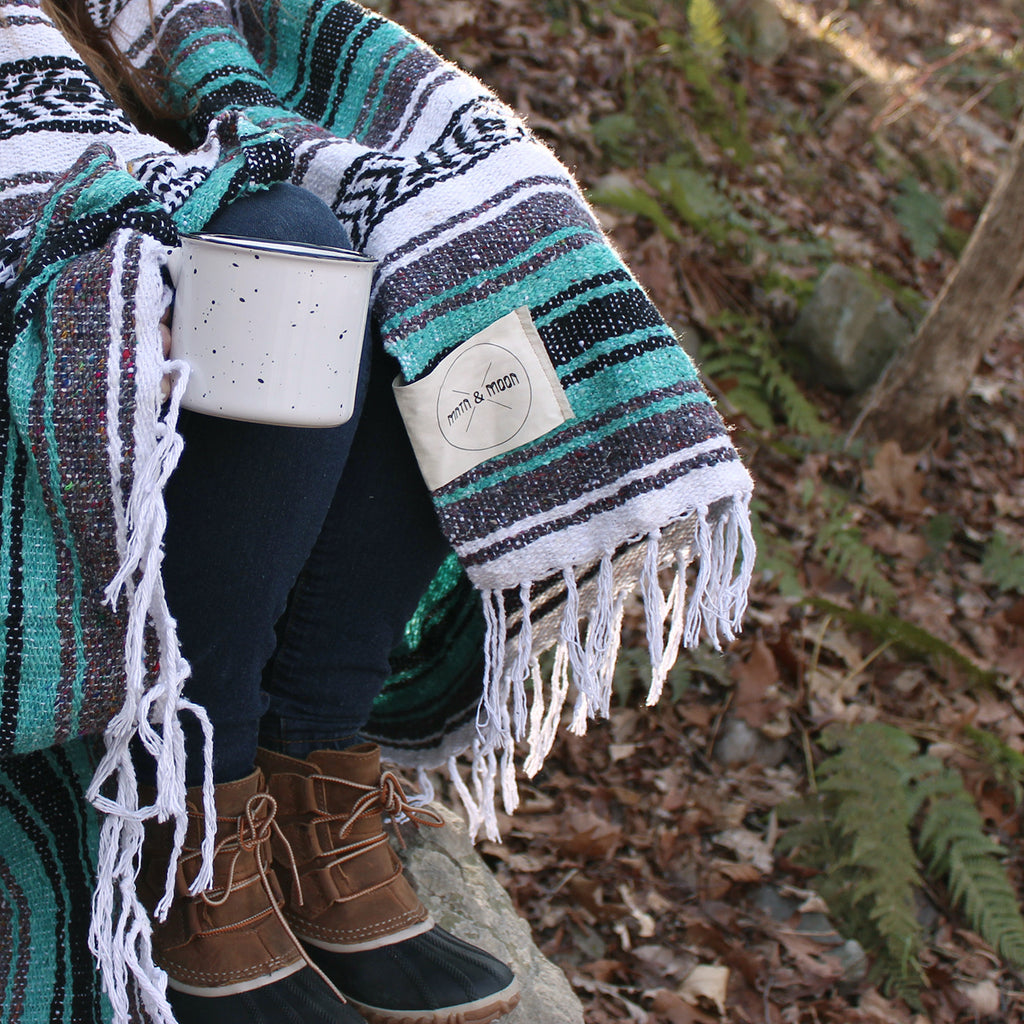 camping with teal mexican blanket | Lago Mexican Falsa Blanket by Mntn & Moon