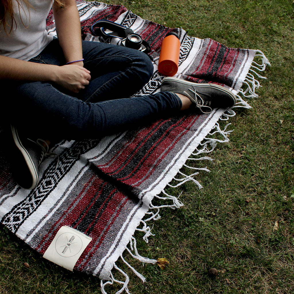 Vino Mexican Blanket by Mntn & Moon | burgundy falsa throw