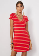 RED HOT CORAL STRIPE