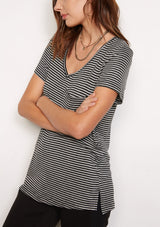 HEATHER GREY / BLACK STRIPE