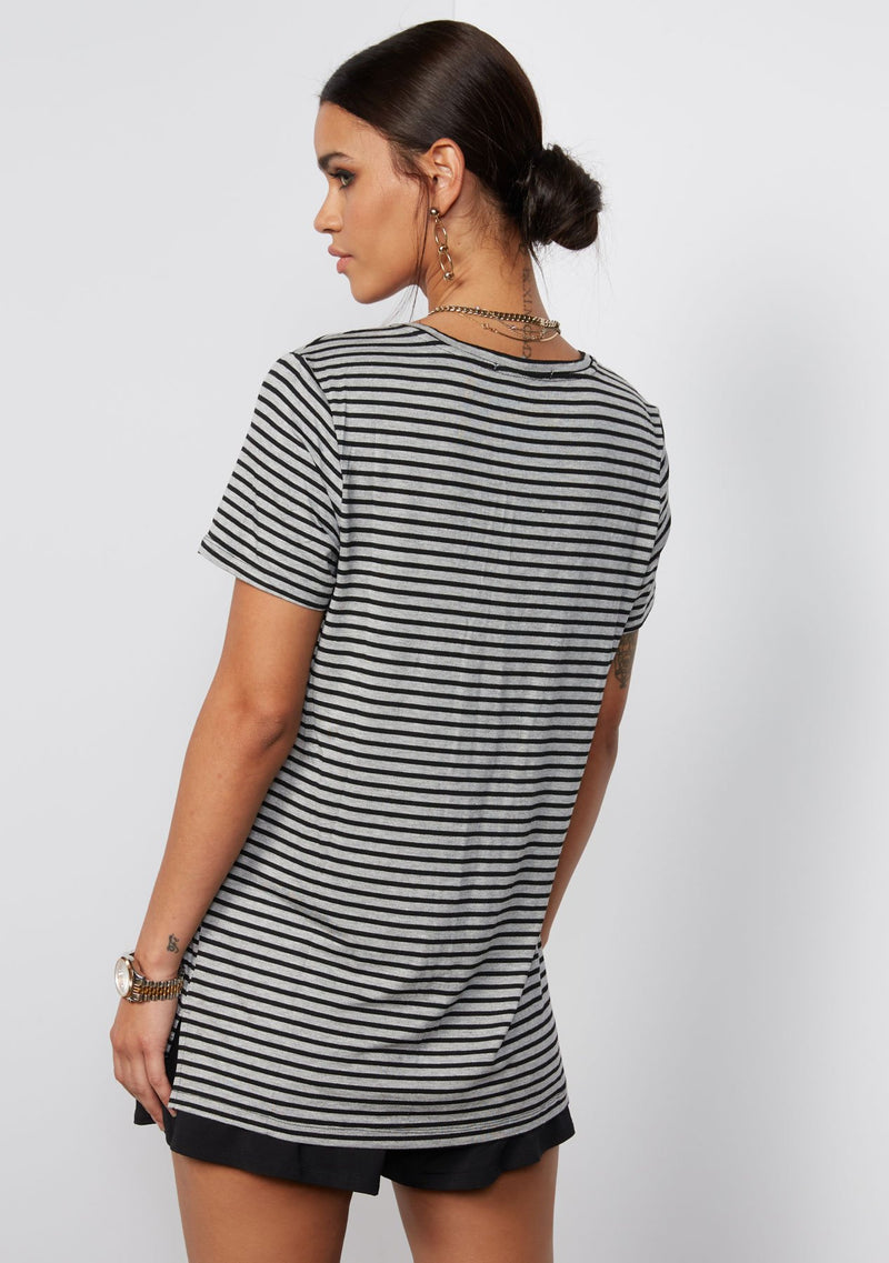 HEATHER GREY BLACK STRIPE