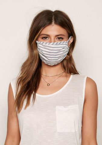 Cotton Face Mask - Unisex - Grey / White Stripe