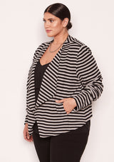 BLACK HEATHER GREY STRIPE