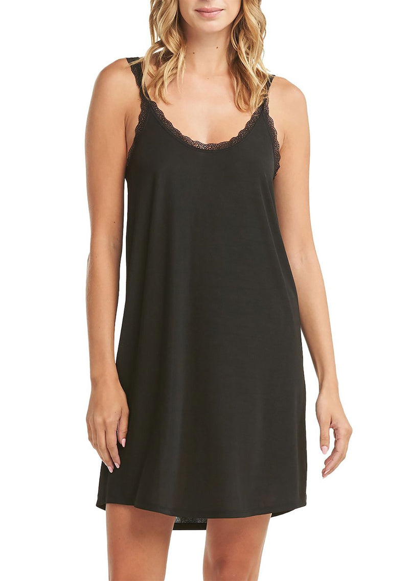 Ruby Rib Chemise in BLACK