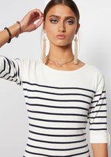 WHITE W/ NAVY STRIPES