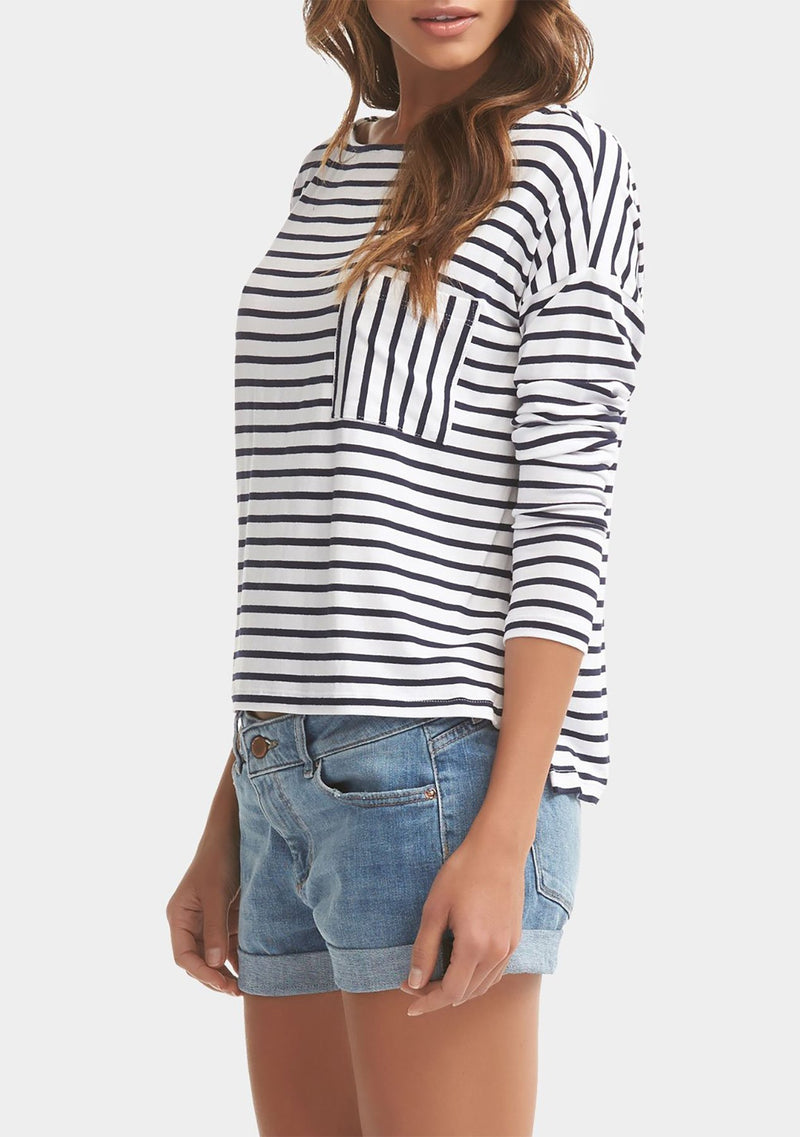 WHITE W/ DARK NAVY STRIPES