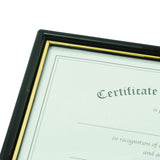 "8.5"" x 11"" EZ Mount Document Frame Plastic Face, Black w/ Gold Trim"