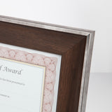 "8.5"" x 11"" Executive Series Document/Photo Frame, Mahogany/Silver Outer Border"