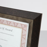 "8.5"" x 11"" Executive Series Document/Photo Frame, Mahogany/Pewter Inner Border"