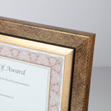 "8.5"" x 11"" Executive Series Document/Photo Frame, Gold/Black Pattern w/ Inner Gold Border"