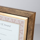 "8"" x 10"" Executive Series Document/Photo Frame, Gold/Black Pattern w/ Inner Gold Border"