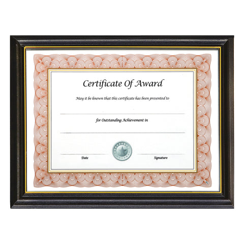 "8.5"" x 11"" Deluxe Wood Document Frame, Black"