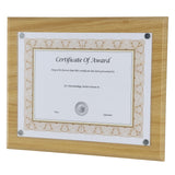 "13"" x 10.5"" Magnetic Plaque Exclusive Easy-load Magnetic Clear Cover System fits 8.5x11"" Award, Walnut"