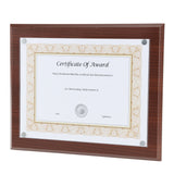 "13"" x 10.5"" Magnetic Plaque Exclusive Easy-load Magnetic Clear Cover System fits 8.5x11"" Award, Mahogany"