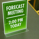 "8.5"" x 11"" Table Top Double Sided T-Base Freestanding Sign Display Frame, Clear"
