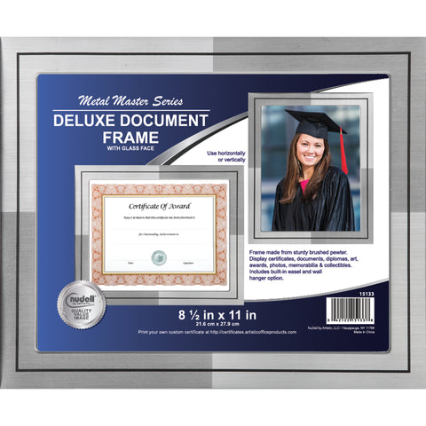 "8.5"" x 11"" Metal Master Series Document/Photo Frame, Two-tone Silver w/ Black Stripe"