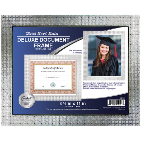 "8.5"" x 11"" ""Swirl"" Metal Master Series Document/Photo Frame, Silver"