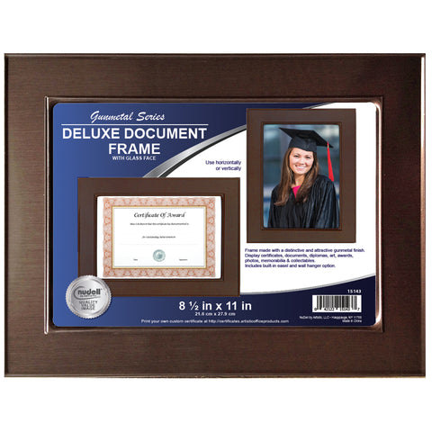 "8.5"" x 11"" Metal Master Series Document/Photo Frame, Gunmetal"
