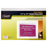 "17"" x 11"" Horizontal Wall Mount Sign Holder, Clear"