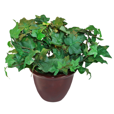 "Artificial Ivy Plant w/Mahogany Pot, 8"" Tall"