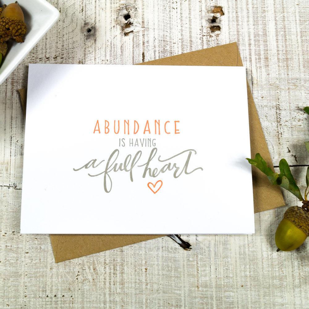Letterpress Thankful Abundance Full Heart