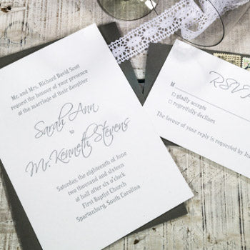 Letterpress Wedding Event Invitation