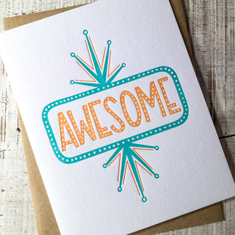 AWESOME Marquee Letterpress Card