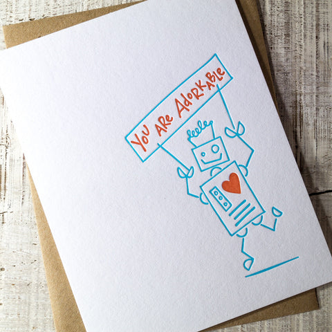 Adorkable Robot Letterpress Card
