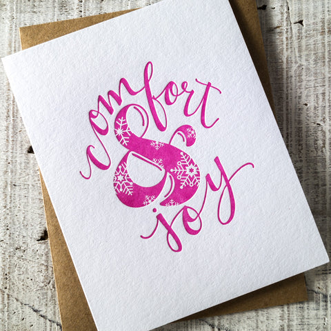 Comfort & Joy Ampersand Letterpress Christmas Card