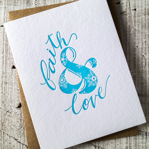 Faith & Love Ampersand Letterpress Christmas Card