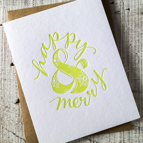 Happy & Merry Ampersand Letterpress Christmas Card