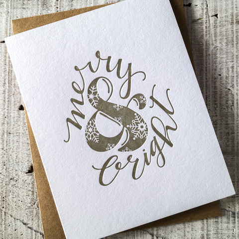 Merry & Bright Ampersand Letterpress Christmas Card