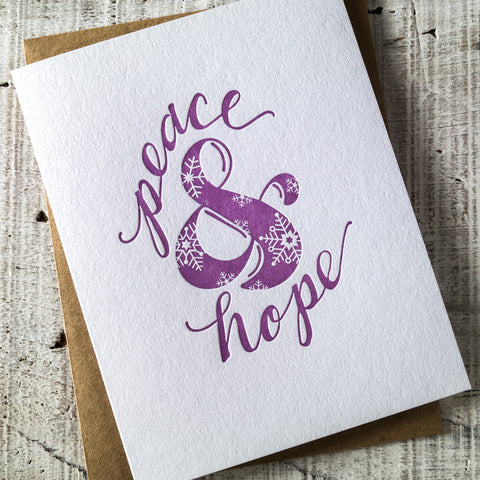 Peace & Hope Ampersand Letterpress Christmas Card