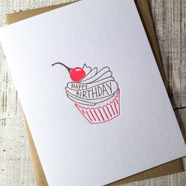 Cupcake Happy Birthday Letterpress Card