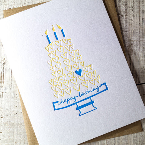 Hearts Cake Happy Birthday Letterpress Card