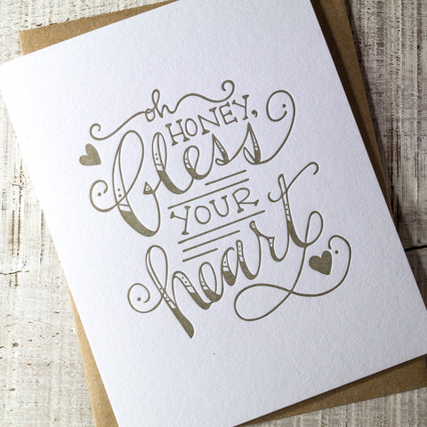 Bless Your Heart Letterpress Card