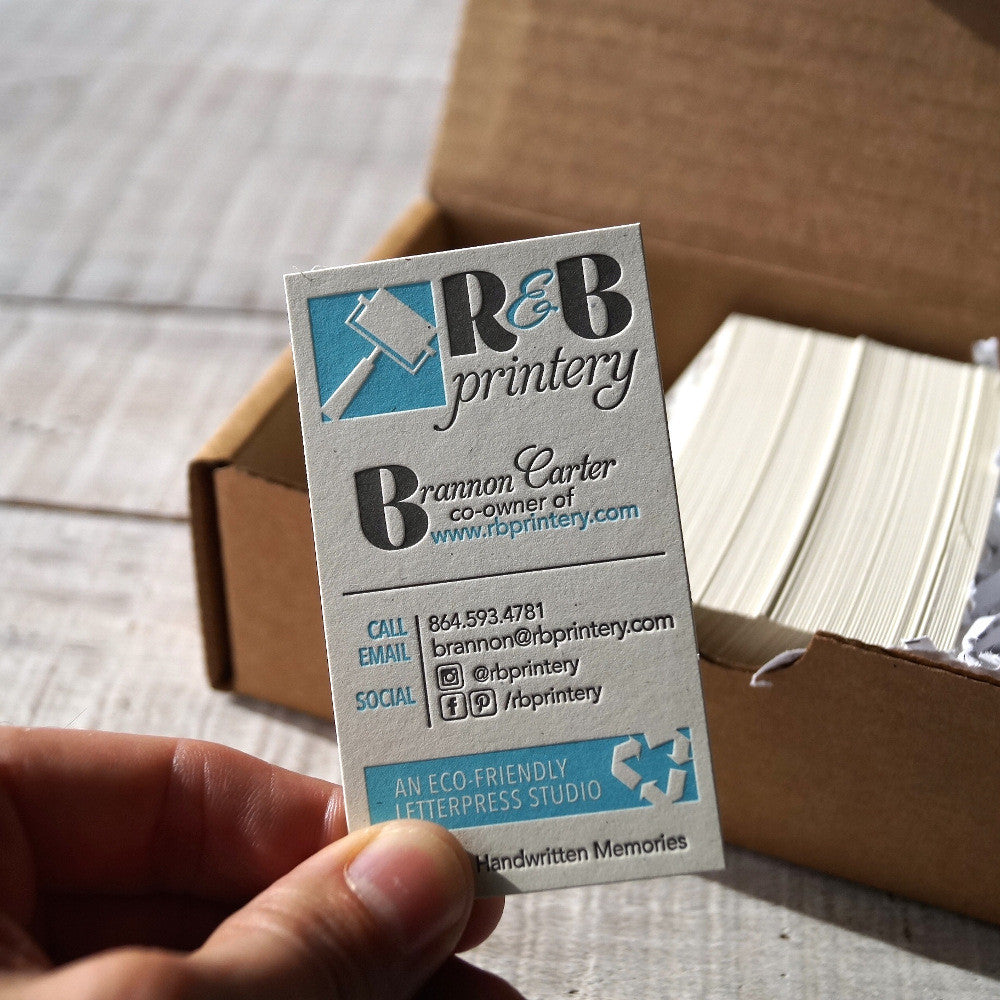 Eco friendly 100 recycled letterpress business cards rb printery custom eco friendly 100 recycled letterpress business cards colourmoves