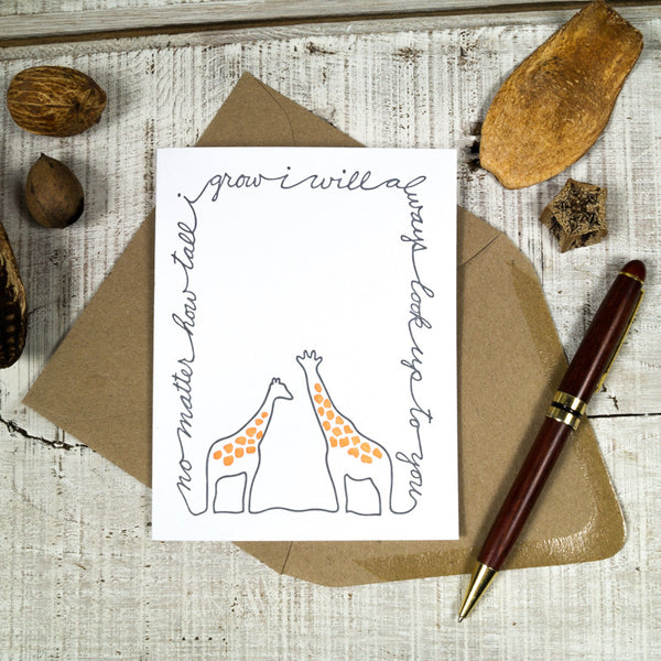 I'll Always Look Up To You Giraffe Letterpress Card