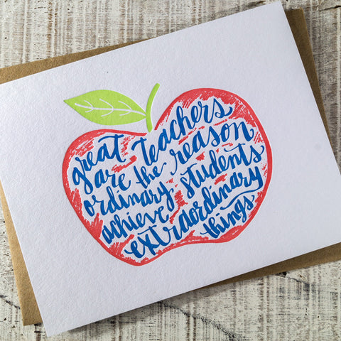 Teacher Appreciation Apple Letterpress Card