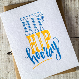 Hip Hip Hooray Letterpress Card