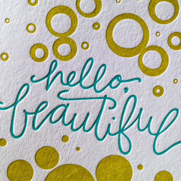 Hello Beautiful Letterpress Card