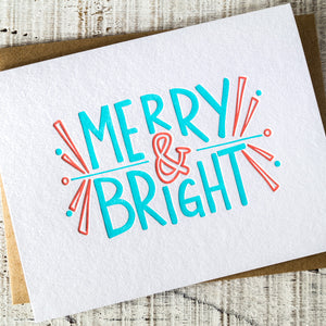 Art Deco Burst Merry & Bright Single Letterpress Card -OR- Pack of 6