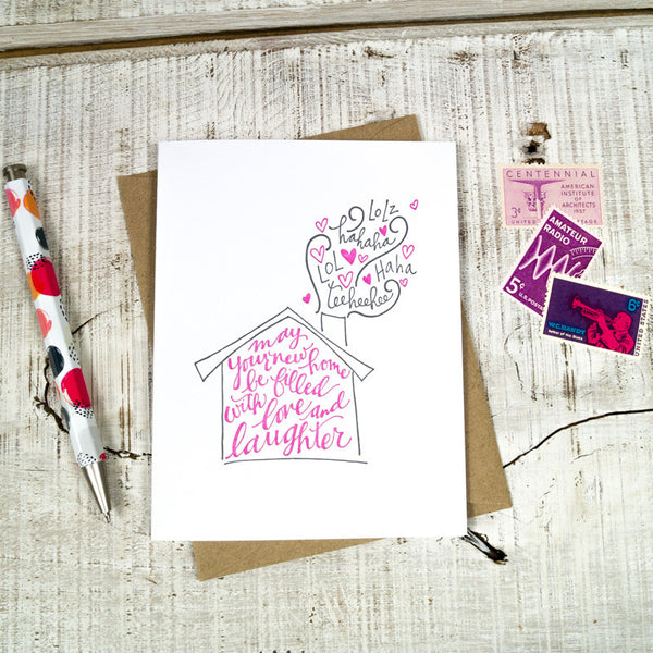 Love & Laughter New Home Letterpress Card